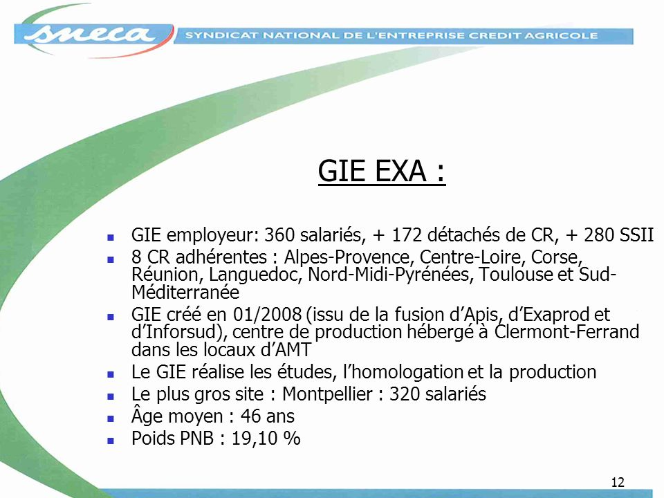 GIE EXA : GIE employeur: 360 salariés, + 172 détachés de CR, + 280 SSII.