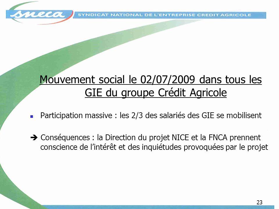 Mouvement social le 02/07/2009 dans tous les GIE du groupe Crédit Agricole