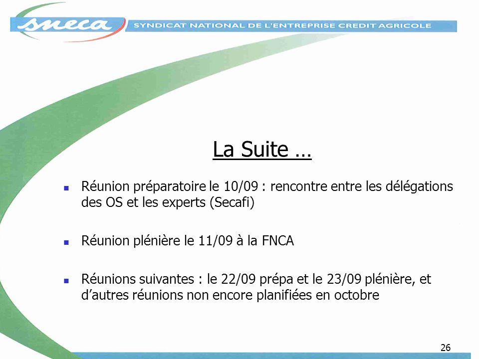 La Suite … Réunion préparatoire le 10/09 : rencontre entre les délégations des OS et les experts (Secafi)