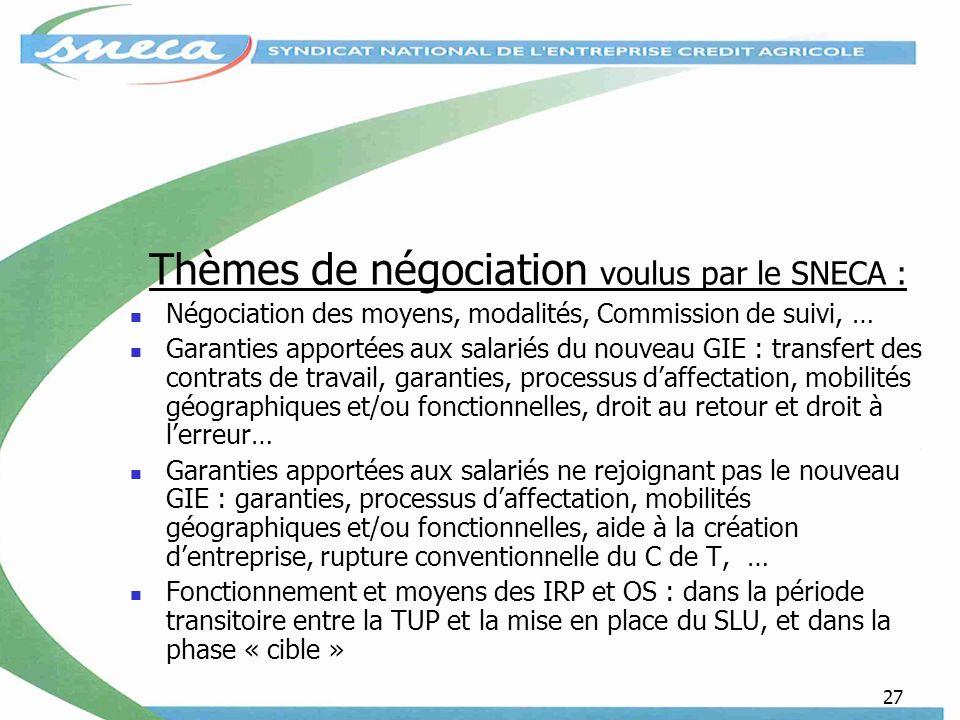 Thèmes de négociation voulus par le SNECA :