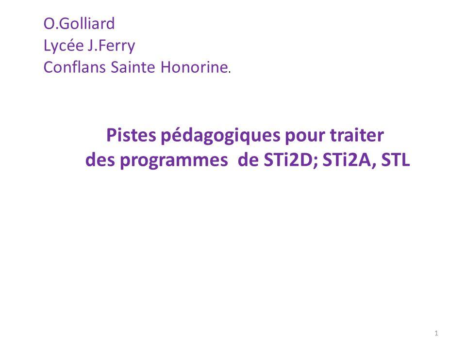 Pistes pédagogiques pour traiter des programmes de STi2D; STi2A, STL