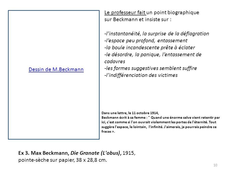 Le professeur fait un point biographique sur Beckmann et insiste sur :