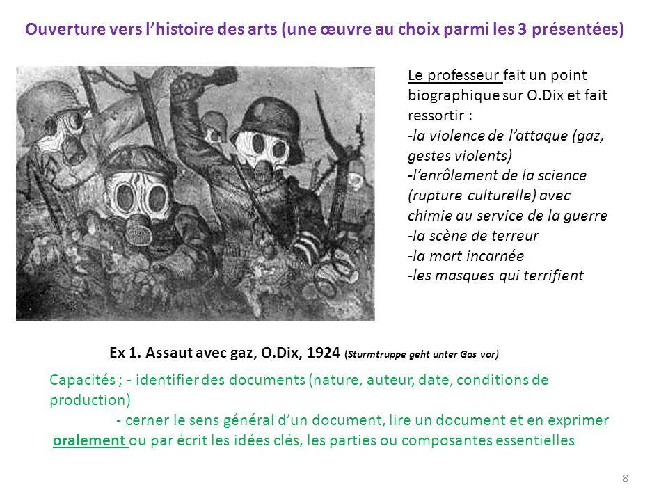 Ouverture vers l'histoire des arts (une œuvre au choix parmi les 3 présentées)