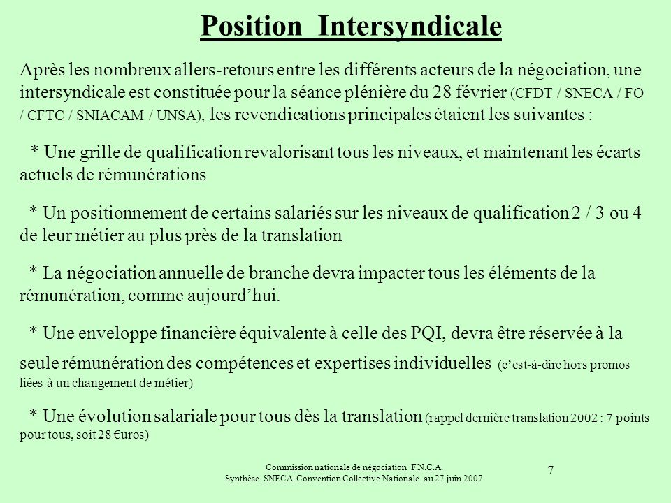 Position Intersyndicale