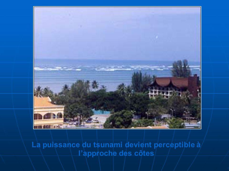 La puissance du tsunami devient perceptible à l'approche des côtes