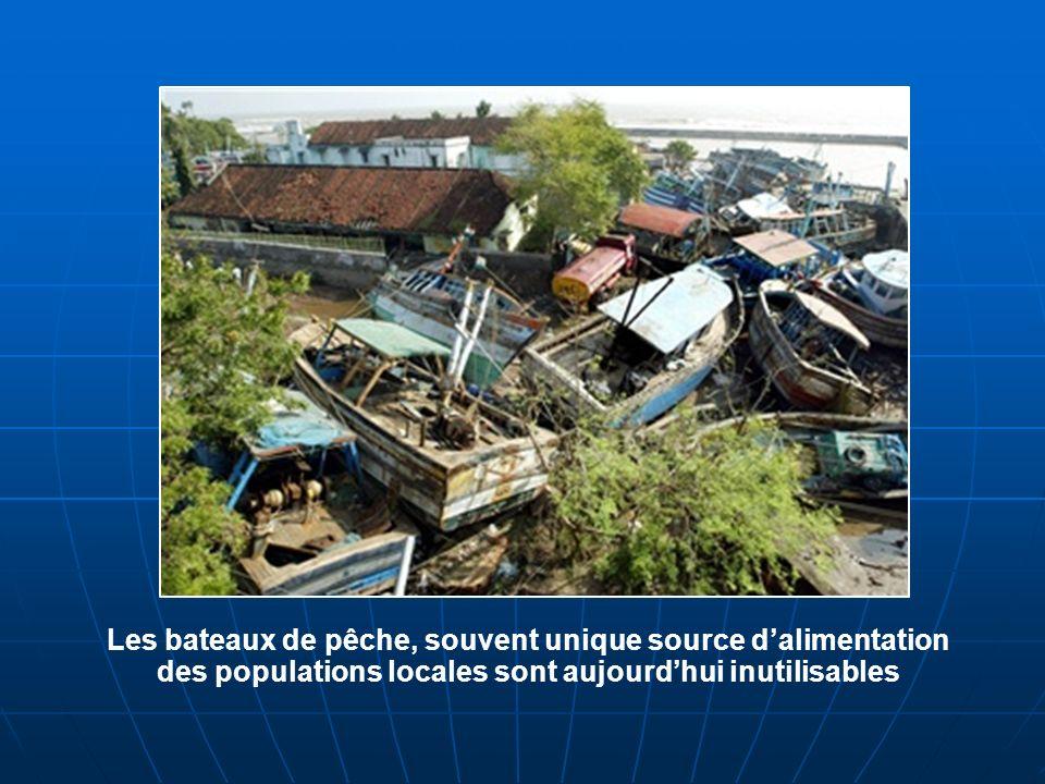 Les bateaux de pêche, souvent unique source d'alimentation des populations locales sont aujourd'hui inutilisables