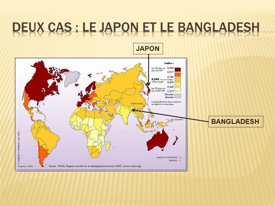 DEUX CAS : Le JAPON ET LE BANGLADESH