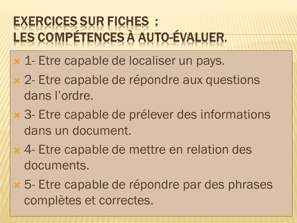 EXERCICES SUR FICHES : Les compétences à AUTO-évaluer.