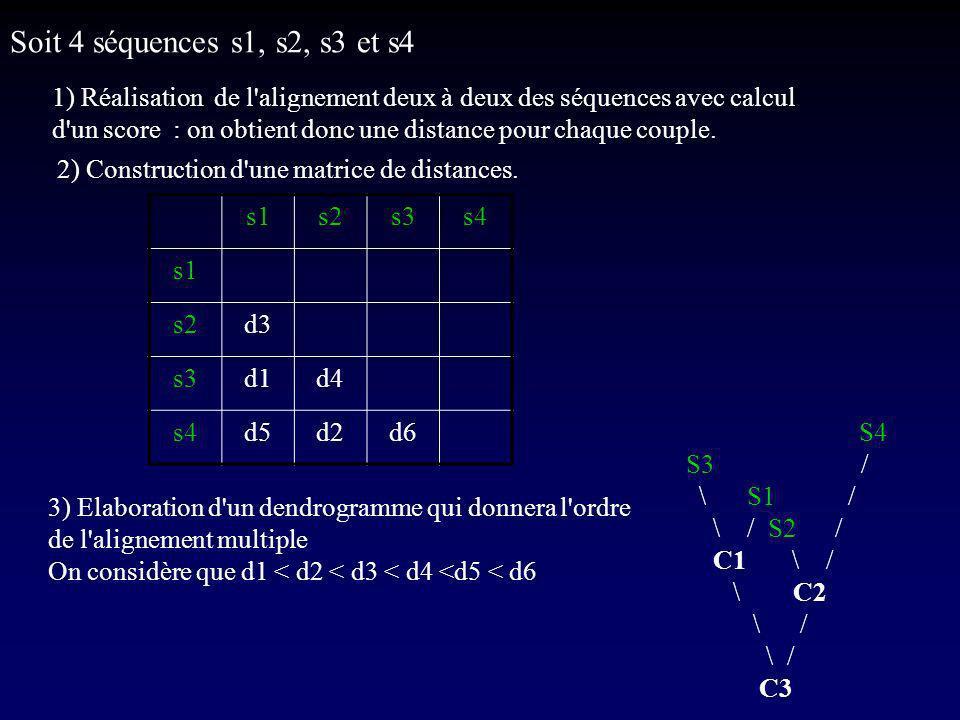 Soit 4 séquences s1, s2, s3 et s4 1) Réalisation de l alignement deux à deux des séquences avec calcul.