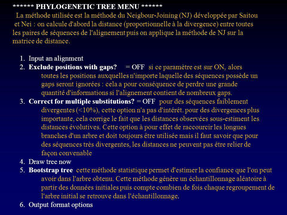 PHYLOGENETIC TREE MENU