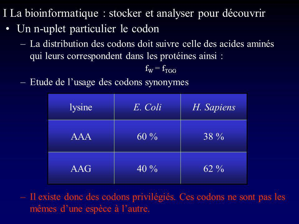 I La bioinformatique : stocker et analyser pour découvrir