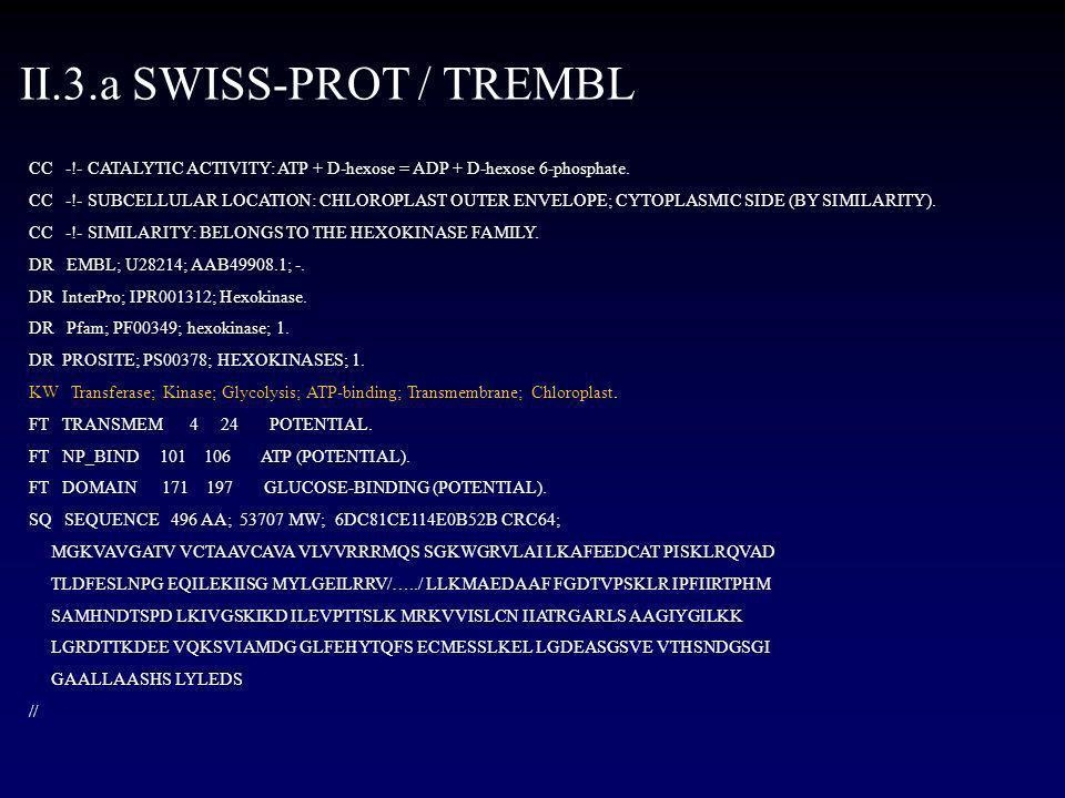 II.3.a SWISS-PROT / TREMBL