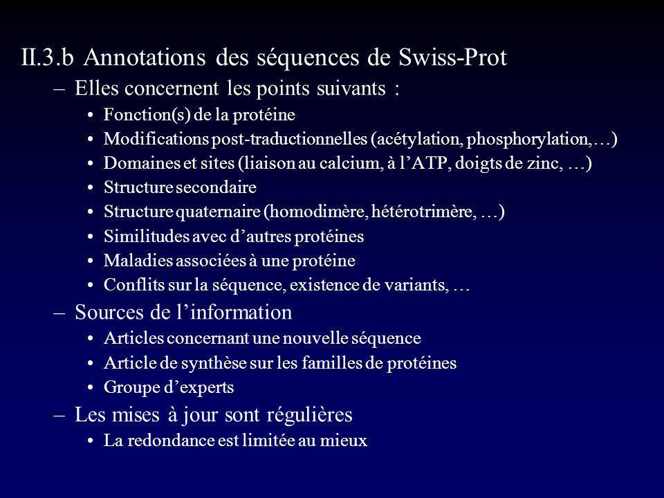 II.3.b Annotations des séquences de Swiss-Prot