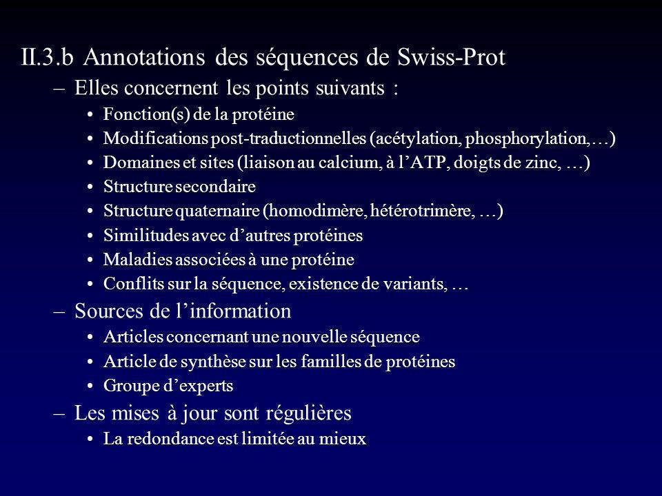 II.3.b Annotations des séquences de Swiss-Prot