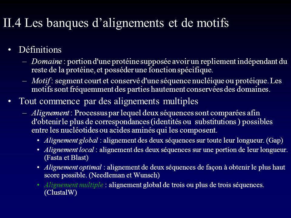 II.4 Les banques d'alignements et de motifs