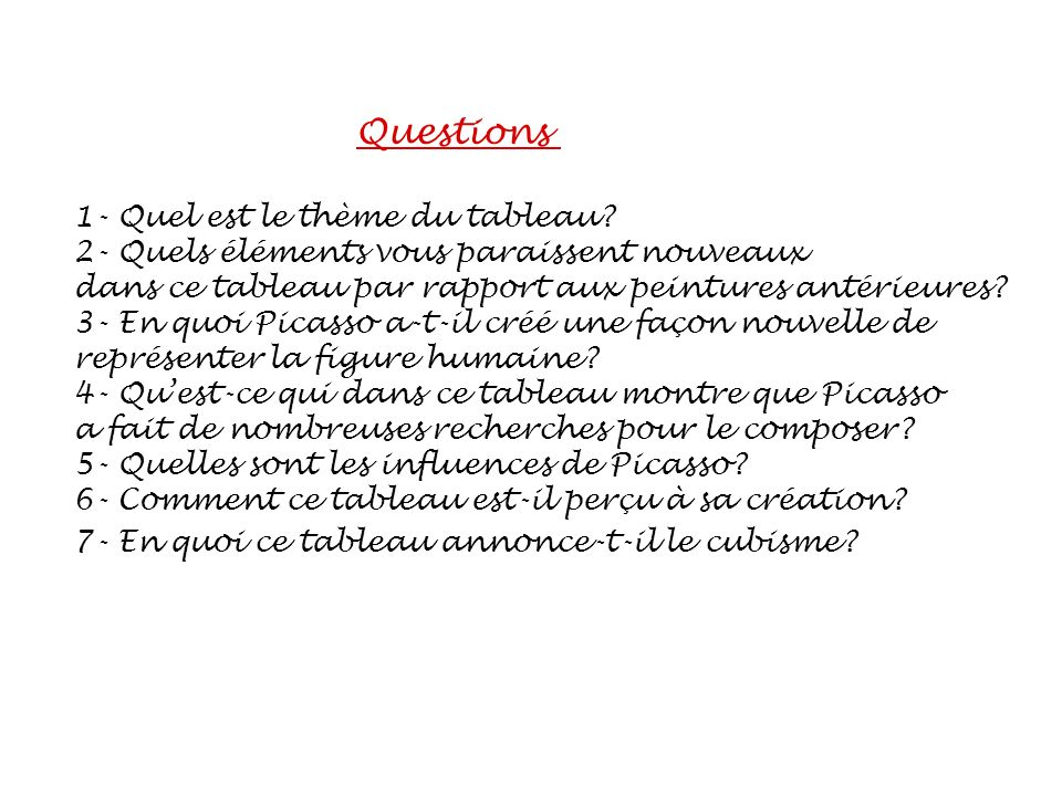 Questions 1- Quel est le thème du tableau