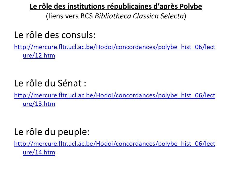 Le rôle des consuls: Le rôle du Sénat : Le rôle du peuple: