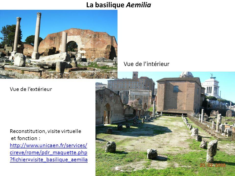 La basilique Aemilia Vue de l'intérieur Vue de l'extérieur