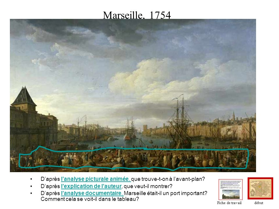 Marseille, 1754 D'après l'analyse picturale animée, que trouve-t-on à l'avant-plan D'après l'explication de l'auteur, que veut-il montrer