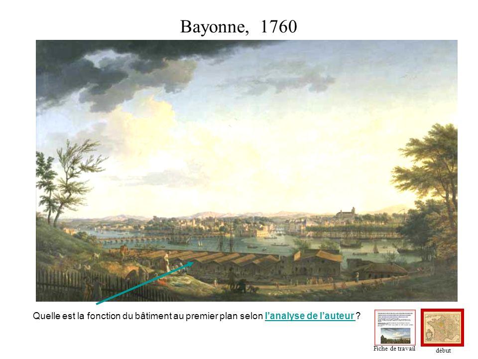 Bayonne, 1760 Quelle est la fonction du bâtiment au premier plan selon l'analyse de l'auteur Fiche de travail.