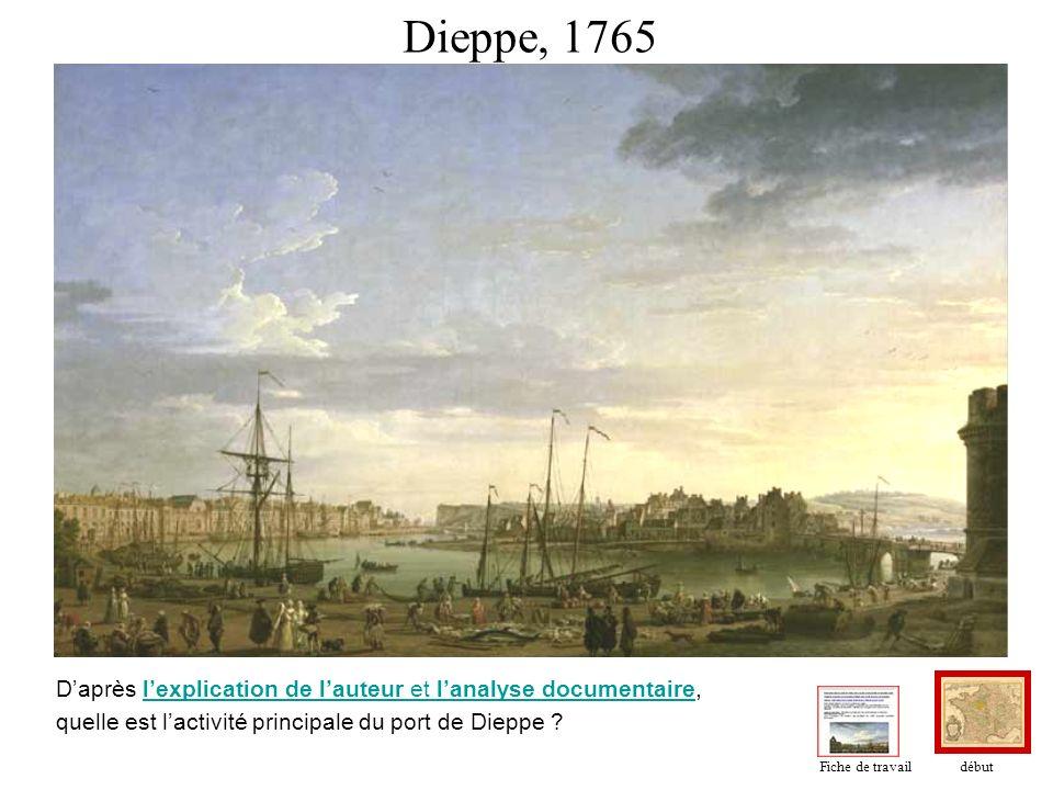 Dieppe, 1765 D'après l'explication de l'auteur et l'analyse documentaire, quelle est l'activité principale du port de Dieppe