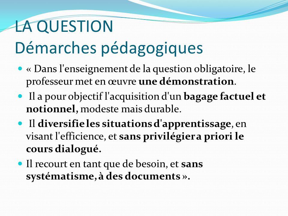 LA QUESTION Démarches pédagogiques
