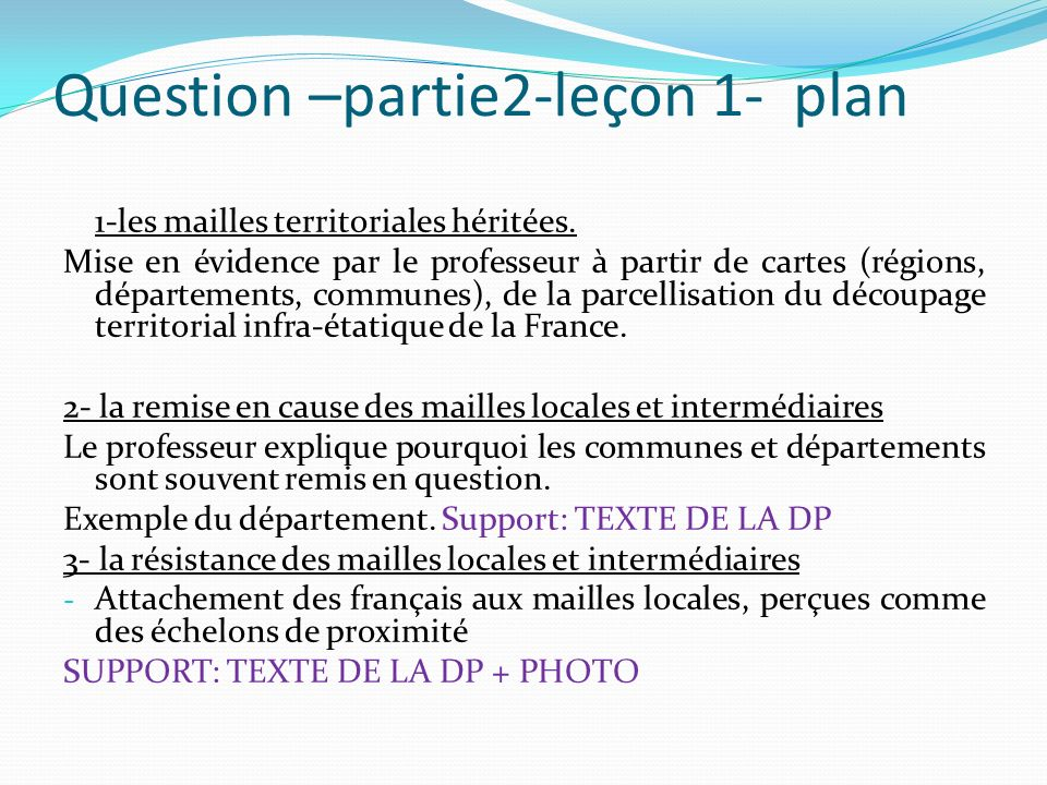 Question –partie2-leçon 1- plan