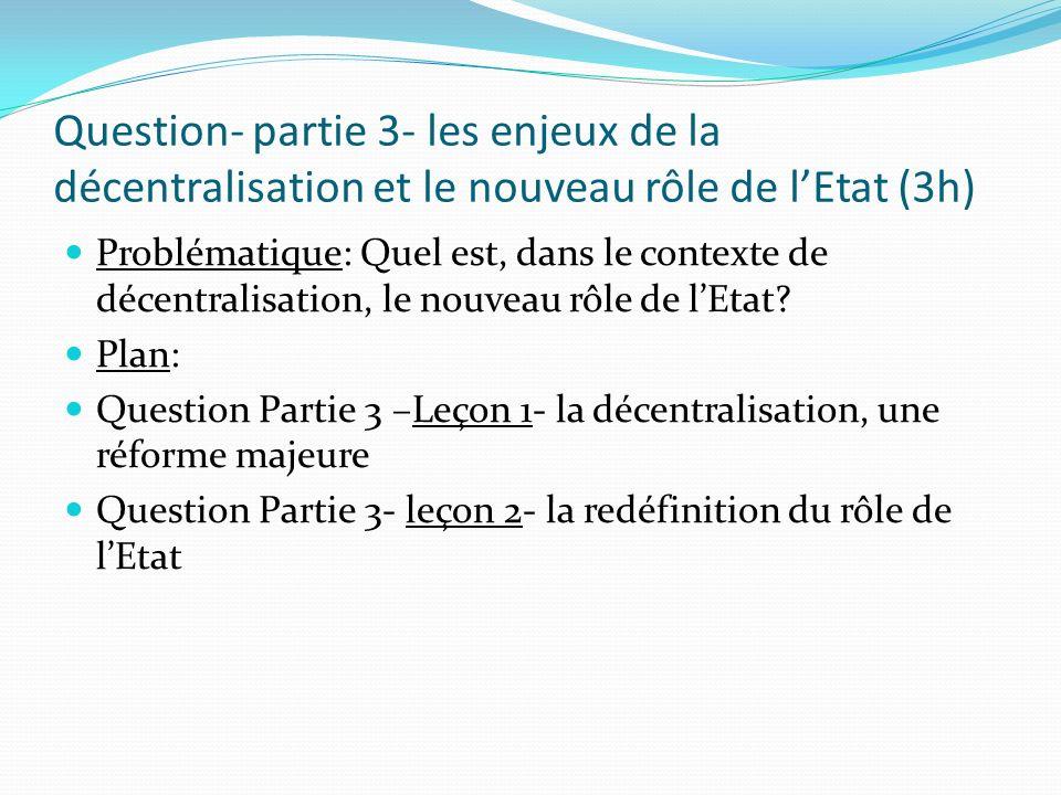 Question- partie 3- les enjeux de la décentralisation et le nouveau rôle de l'Etat (3h)