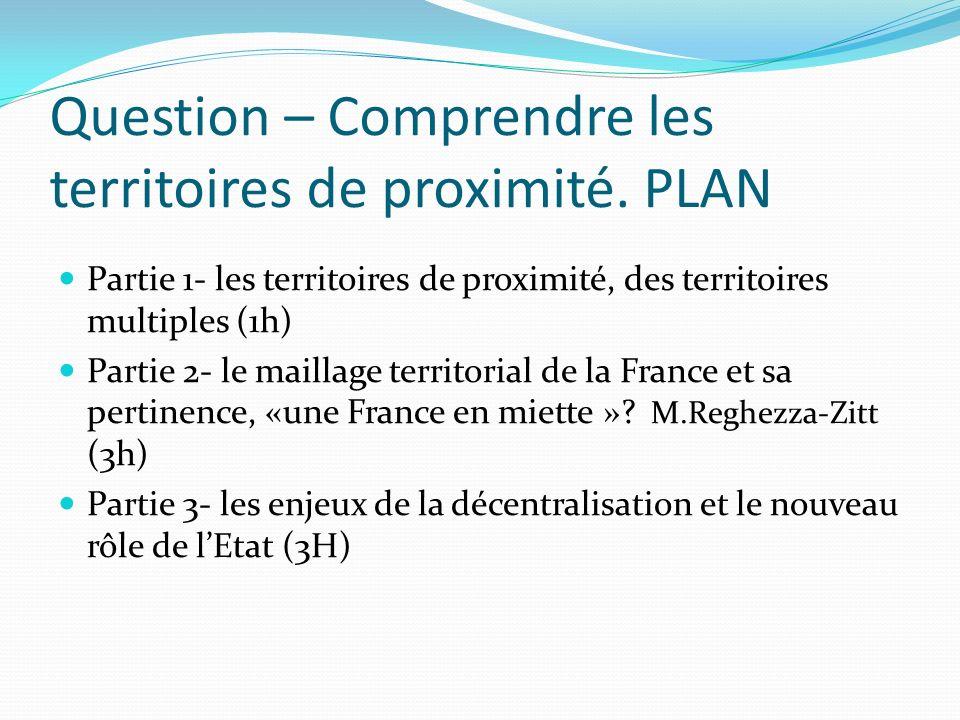 Question – Comprendre les territoires de proximité. PLAN