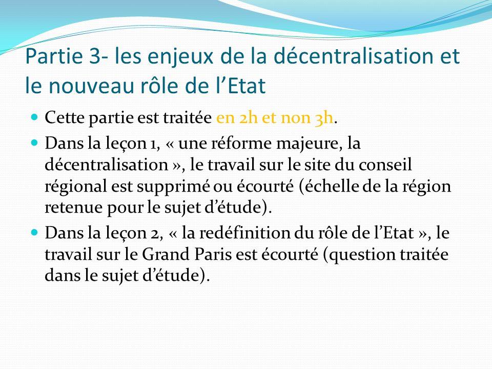 Partie 3- les enjeux de la décentralisation et le nouveau rôle de l'Etat