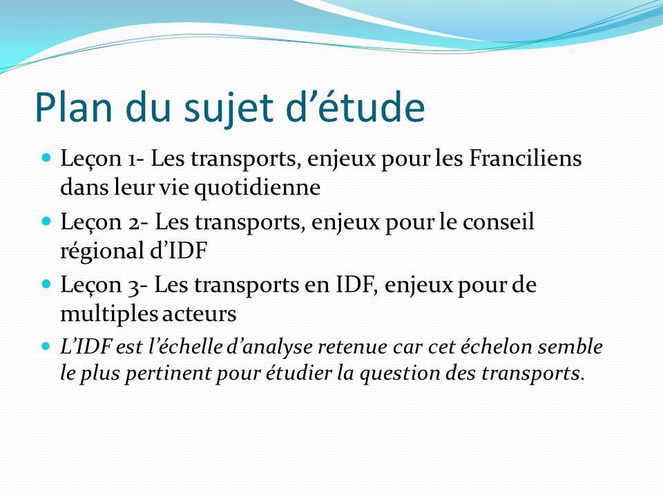 Plan du sujet d'étude Leçon 1- Les transports, enjeux pour les Franciliens dans leur vie quotidienne.