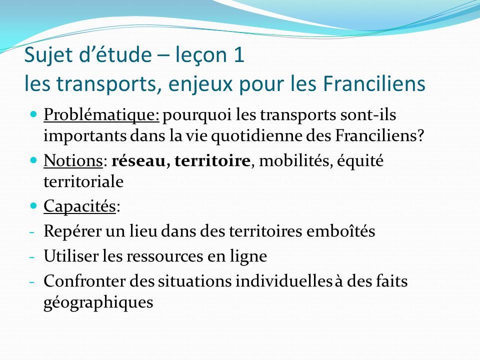 Sujet d'étude – leçon 1 les transports, enjeux pour les Franciliens