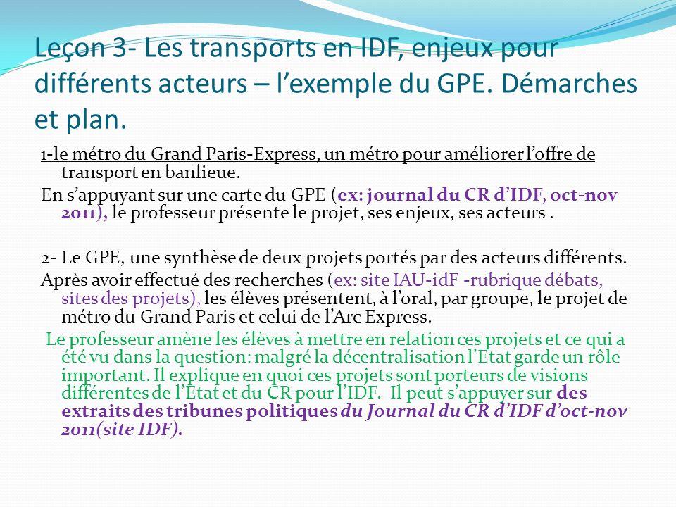Leçon 3- Les transports en IDF, enjeux pour différents acteurs – l'exemple du GPE. Démarches et plan.