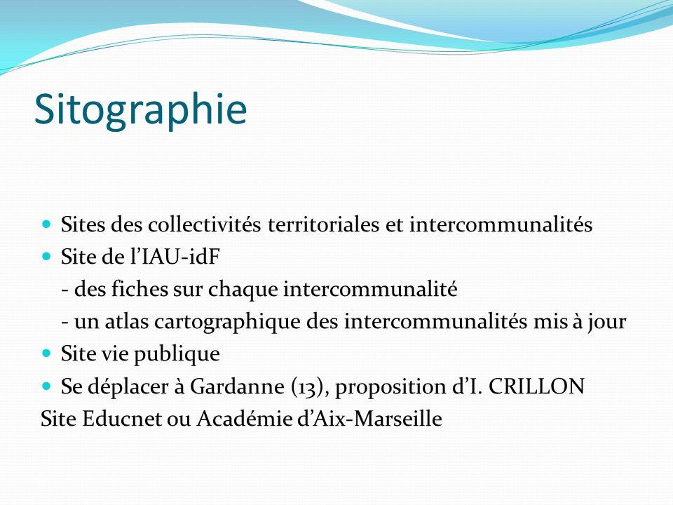 Sitographie Sites des collectivités territoriales et intercommunalités