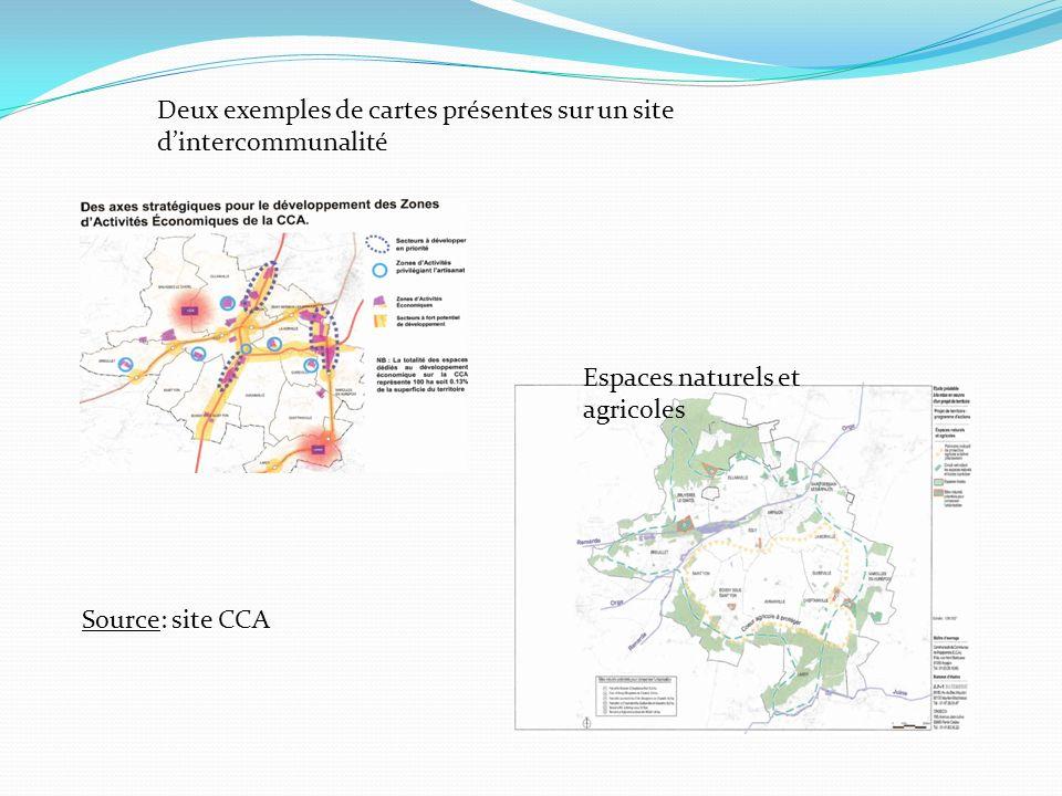 Deux exemples de cartes présentes sur un site d'intercommunalité