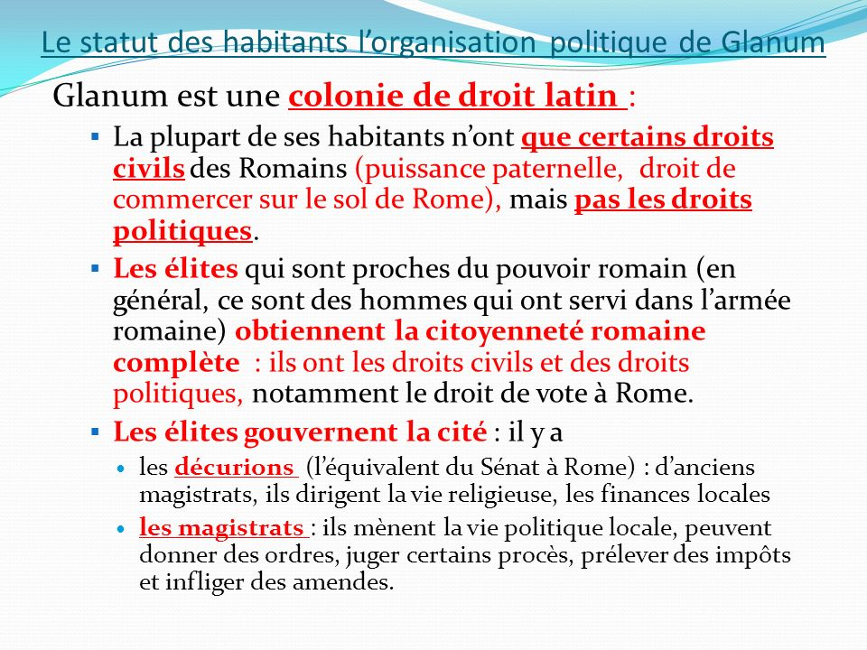 Le statut des habitants l'organisation politique de Glanum