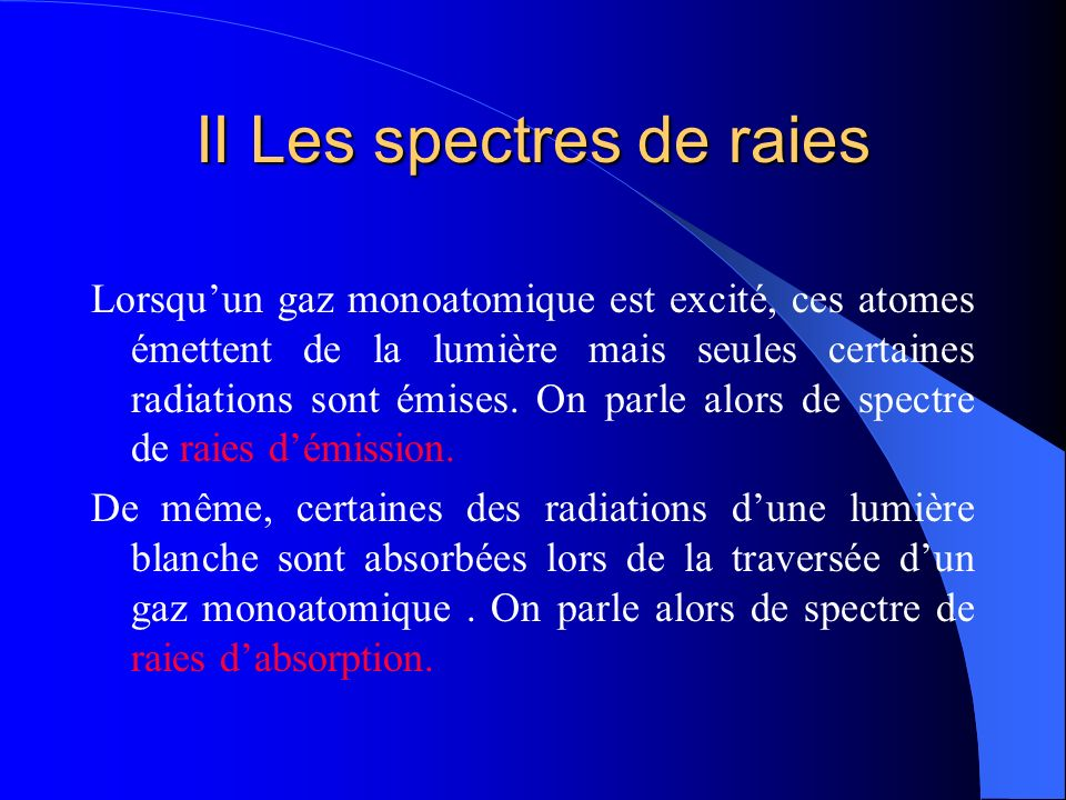 II Les spectres de raies