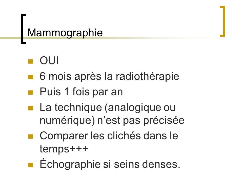 Mammographie OUI. 6 mois après la radiothérapie. Puis 1 fois par an. La technique (analogique ou numérique) n'est pas précisée.