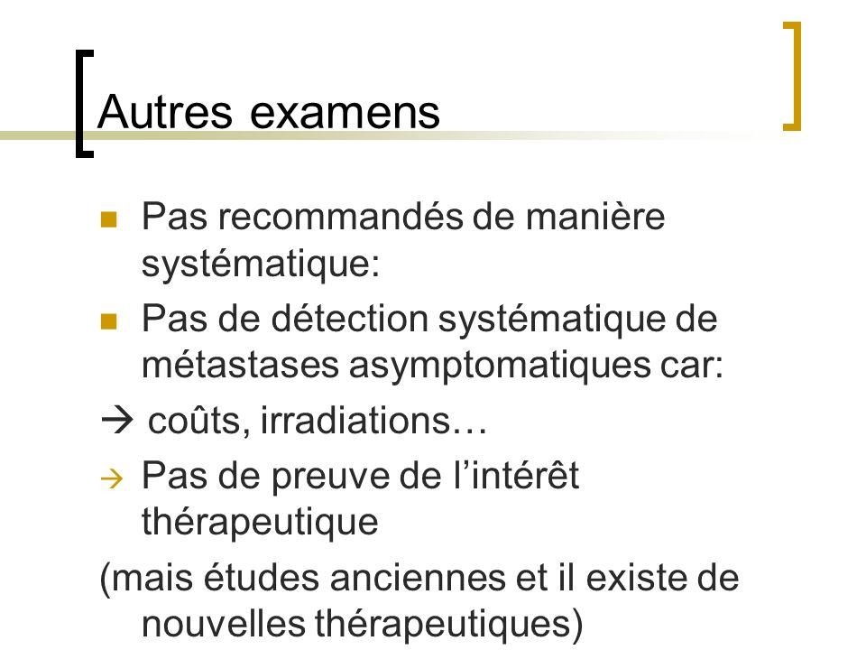 Autres examens Pas recommandés de manière systématique: