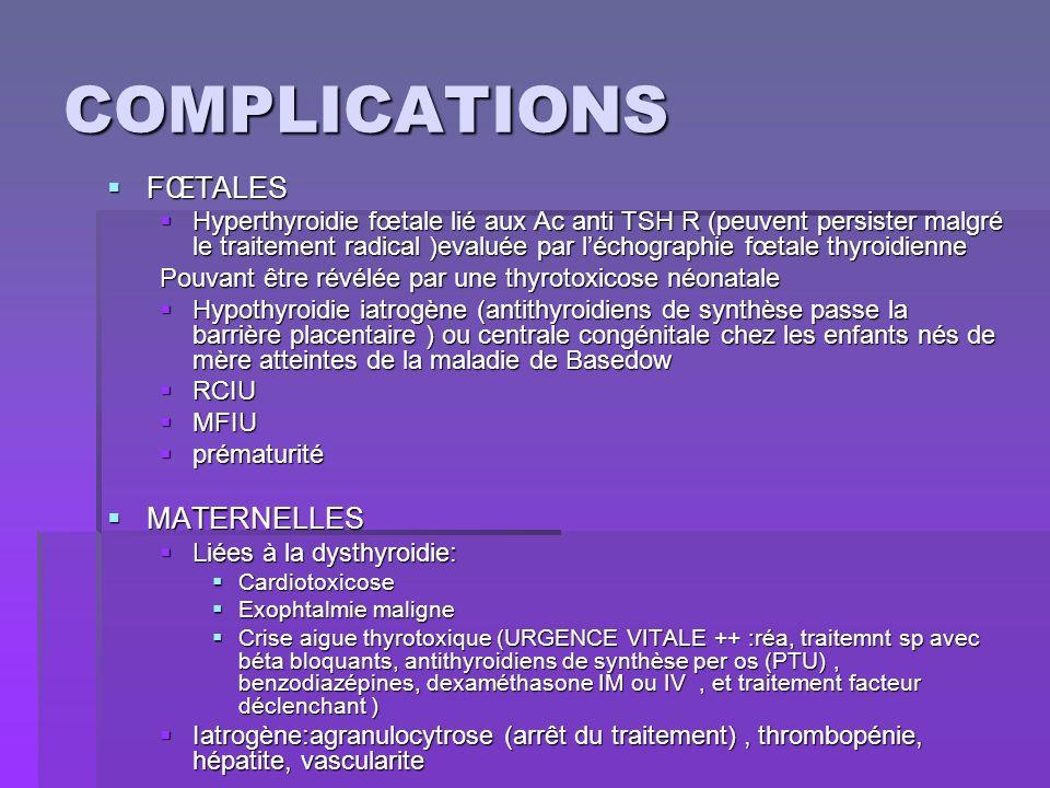 COMPLICATIONS FŒTALES MATERNELLES