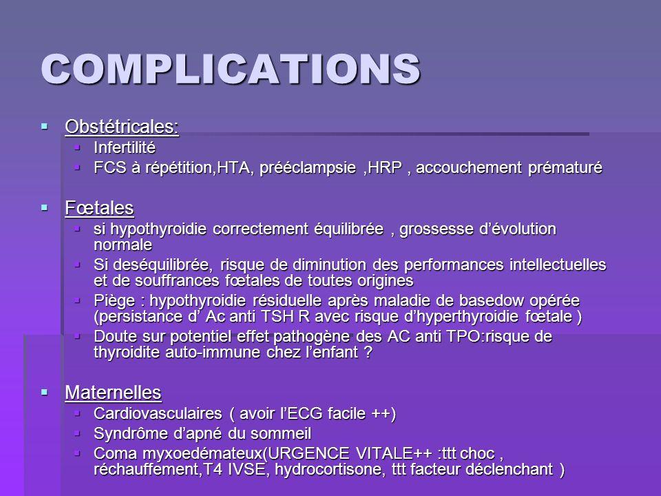 COMPLICATIONS Obstétricales: Fœtales Maternelles Infertilité