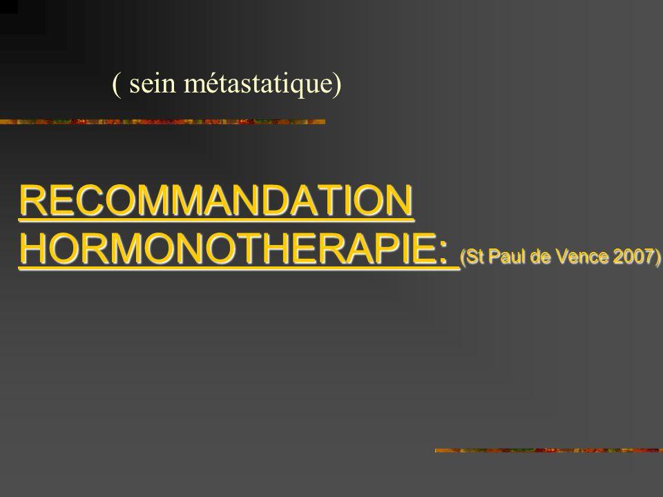 RECOMMANDATION HORMONOTHERAPIE: (St Paul de Vence 2007)