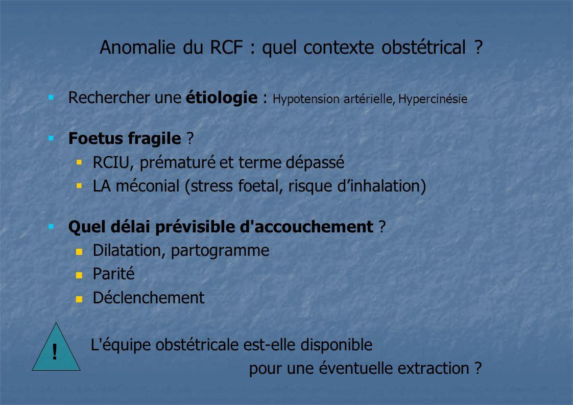 Anomalie du RCF : quel contexte obstétrical