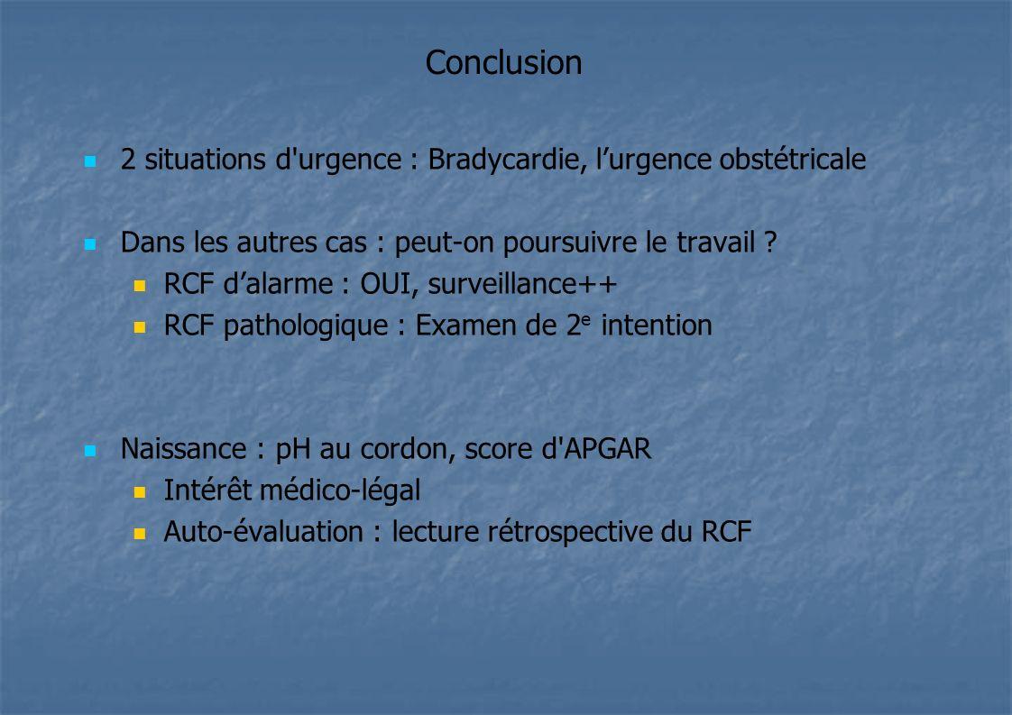 Conclusion 2 situations d urgence : Bradycardie, l'urgence obstétricale. Dans les autres cas : peut-on poursuivre le travail