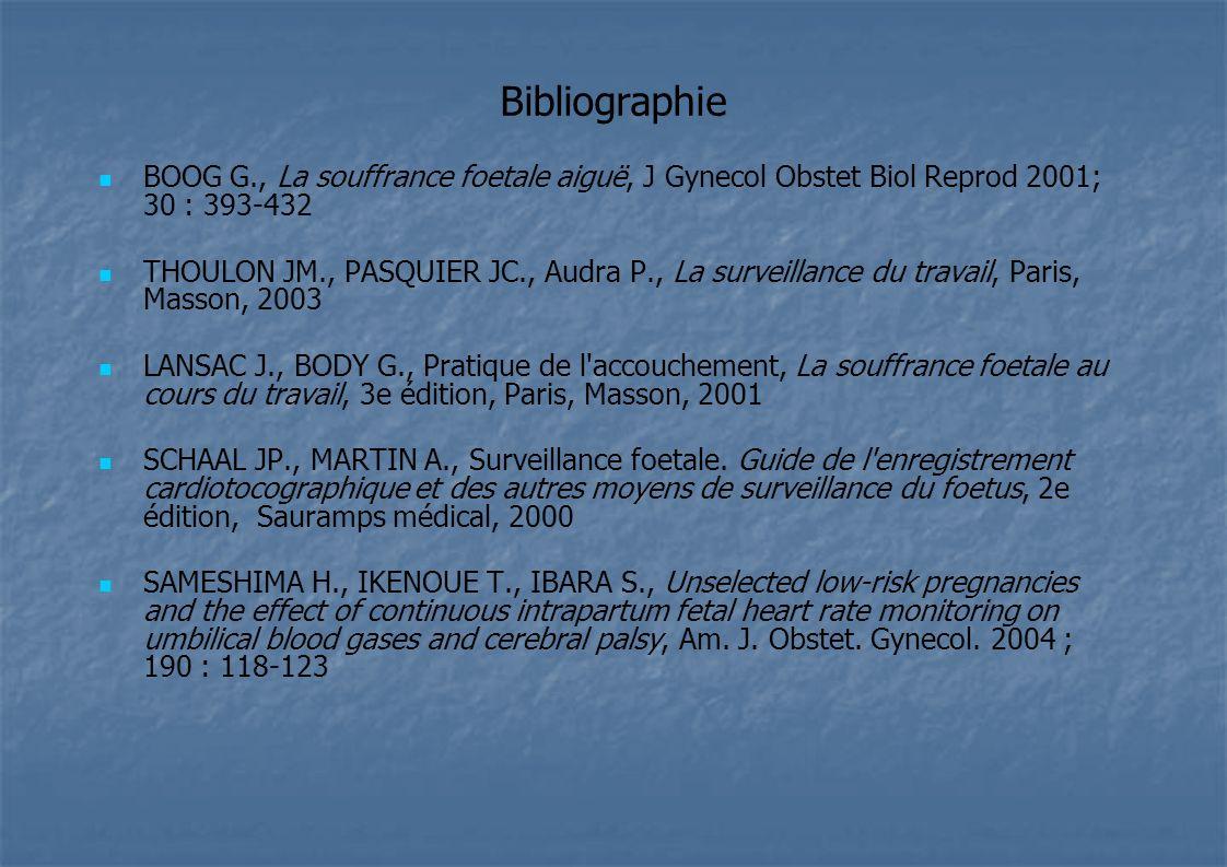 Bibliographie BOOG G., La souffrance foetale aiguë, J Gynecol Obstet Biol Reprod 2001; 30 : 393-432.