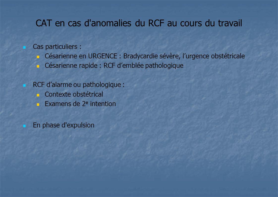 CAT en cas d anomalies du RCF au cours du travail