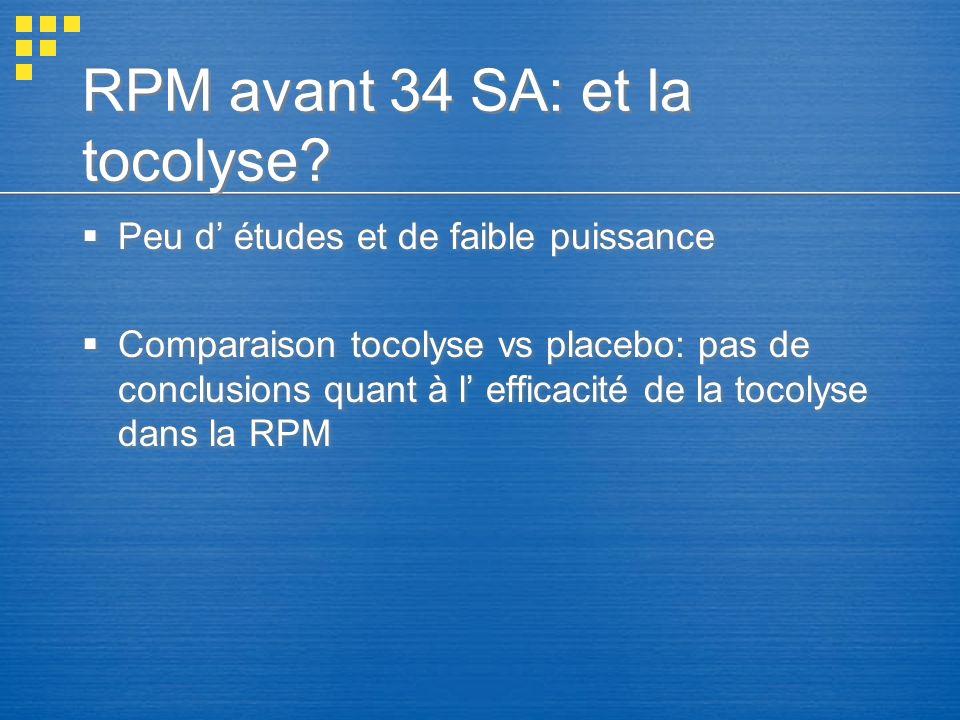 RPM avant 34 SA: et la tocolyse