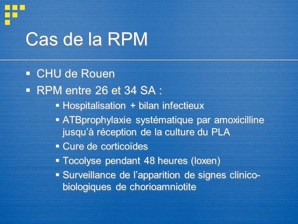 Cas de la RPM CHU de Rouen RPM entre 26 et 34 SA :