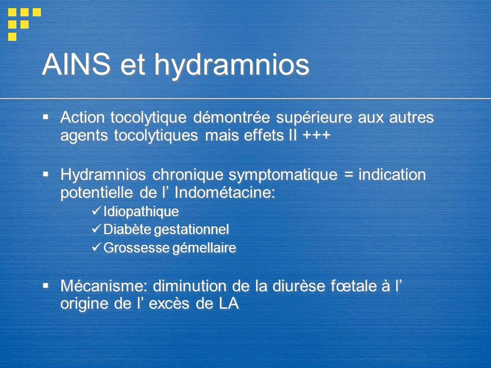 AINS et hydramnios Action tocolytique démontrée supérieure aux autres agents tocolytiques mais effets II +++
