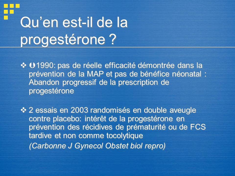 Qu'en est-il de la progestérone